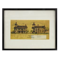 Haunted Mansion Sam McKim Signed Elevations Print.