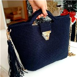 Vintage Black CrochetCoach Bag