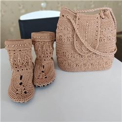 Handmade  knitted shoulder Clutch Beige Bag and Matching Booties