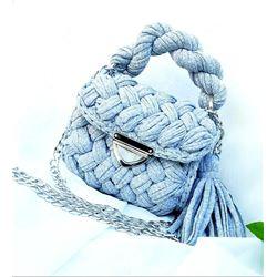Light Blue Hand Crochet Bag