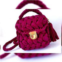 Purple Hand Made Crochet Handbag