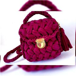 Purple Hand Made Crochet Handbag