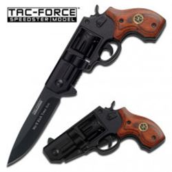 Tac- Force .38 Special Wood Revolver Gun Style Knife