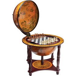 Play Chess or Checker which is a great Globe Collector Item With 57 Chess and Checker Pieces