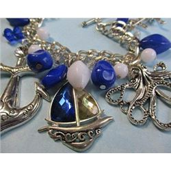 Beautiful Vintage Blue Charm Bracelet