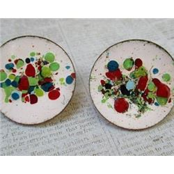 HandPainted  Vintage Enamel Earrings