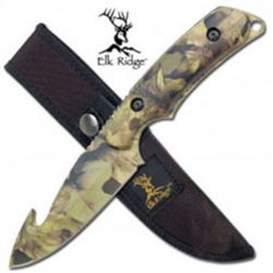 Camouflauge  Elk Ridge Skinning Knife with Gut Hook With Sheath