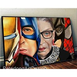 Beautiful Wall Art of Ruth Ginsburg, Black Panther, Iron Man and Captain America