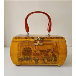 Lovely Decoupage Vintage Wood Bag  1950 Style