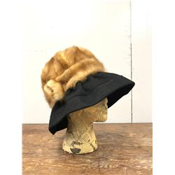 1970 Mink Fur Hat With Black Brim