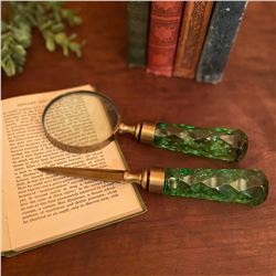 Handmade Brass and Glass Magnifer and Letter opener Desk Set