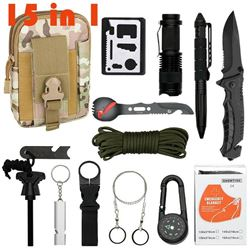 Camping Survival Gear Kit 15 in 1
