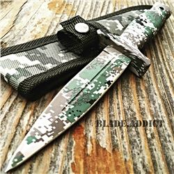 """Double 9"""" Military Camo Tactical Hunting Knife"""