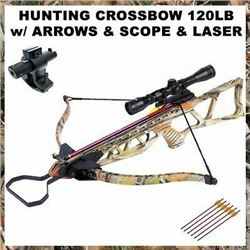 120 LB  Archery Hunting Crossbow with Arrows-Bolts-Scope-Laser