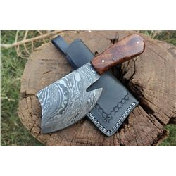 Handmade Damascus Steel Chopper / Great for hunting and camping/ With Leather Sheath