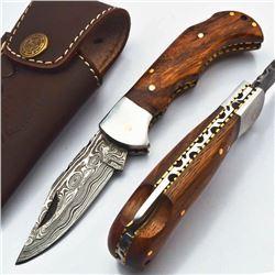 6.5 Handmade Damascus Folding Hunting Pocket Knife