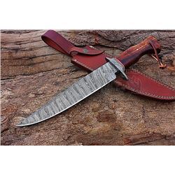 "Damascus 15"" Forged Steel Hunting Knife Handmade"