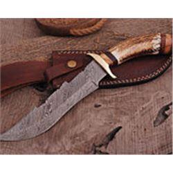 "12"" Custom  Hand  Made Damascus Steel Hunting Knife"