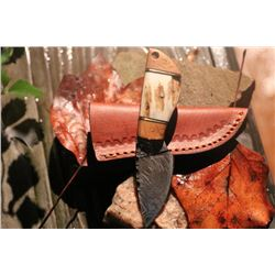 """2.5 """"  Wildstag Damascus Skinner Drop Point Blade Knife / Stag Handle With Sheath"""