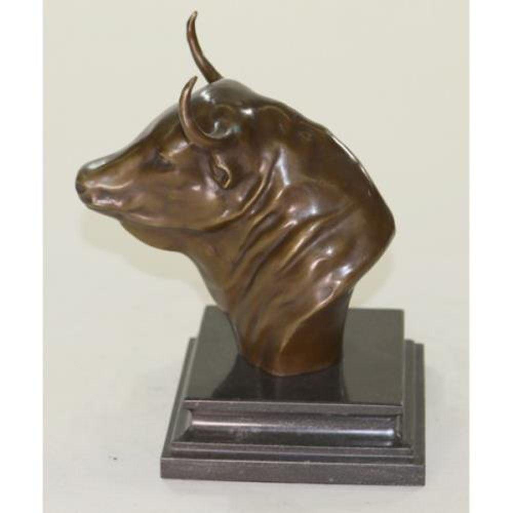 Head bull on marble base