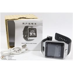 NEW BLK/STAINLESS BLUETOOTH SMARTWATCH W/CAMERA