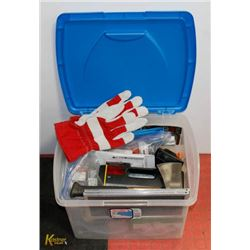 PLASTIC STORAGE BOX FULL OF  TOOLS AND MORE.