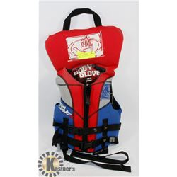 RED BODY GLOVE CHILD 30-60LB LIFE JACKET.