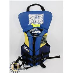 BLUE BODY GLOVE CHILD 30-60LB LIFE JACKET.
