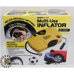 NEW 12 VOLT MULTI USE INFLATOR.