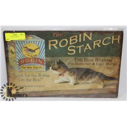 ROBIN STARCH TIN SIGN