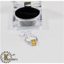 STERLING .925 SILVER RING SIZE 7 CUBIC YELLOW