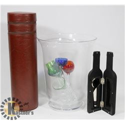 LOT OF BAR SUPPLIES, CHAMPAGNE BUCKET, GLASSES