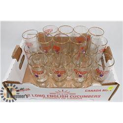 FLAT OF CARLING O'KEEFE BEER GLASSES
