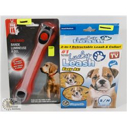 NEW LED DOG COLLAR SOLD WITH NEW 2 IN 1 RETRACTABLE