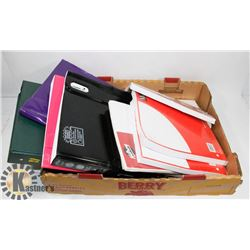FLAT OF ASSORTED SCHOOL BINDERS AND PAPER