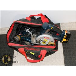 RYOBI SKILL SAW WITH DRILL, BATTERY & CHARGER IN