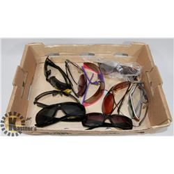 10 PAIRS OF SUNGLASSES INCL OAKLEY AND MORE.