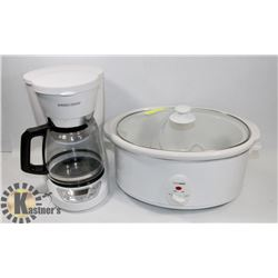BLACK & DECKER COFFEE MACHINE AND LARGE CROCK POT