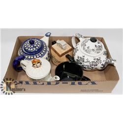 LOT WITH COLLECTIBLE TEA POTS, TEA FOR ONE SET,