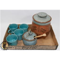 COOKIE AND HONEY JAR AND POTTERY TEA CUP