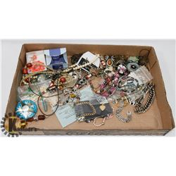 FLAT OF NECKLACES & ASST JEWELLERY