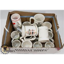 FLAT OF ASSORTED BEER MUGS, SOME WITH CHIPS