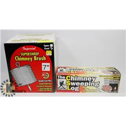 SUPERSWEEP CHIMNEY BRUSH AND CHIMNEY SWEEPING LOG