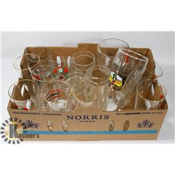 FLAT OF ASSORTED BEER GLASSES