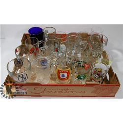 FLAT OF ASSORTED BEER GLASSES AND MUGS