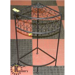 """BLACK WROUGHT IRON CORNER ACCENT TABLE -  27""""H"""