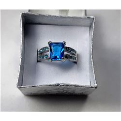 20) EMERALD CUT AQUAMARINE BLUE CZ
