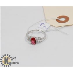 STERLING SILVER RUBY CZ RING SIZE 7.25.