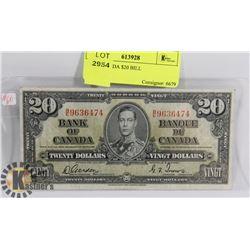 1937 CANADA $20 BILL