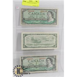 LOT OF 3 CANADA 1954 $1 BILLS